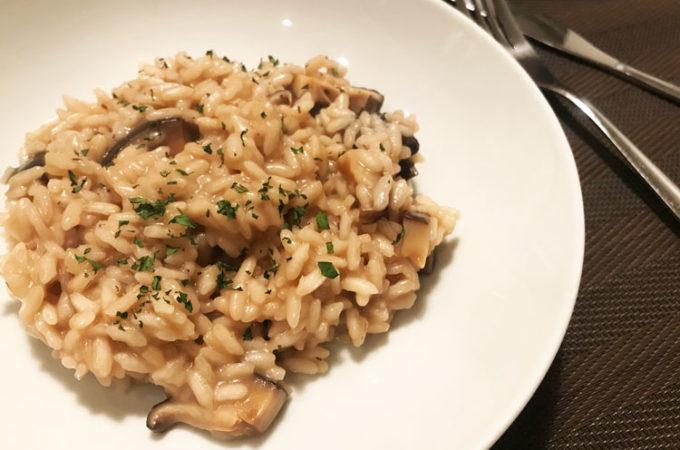 干し椎茸で簡単リゾット。レシピ。