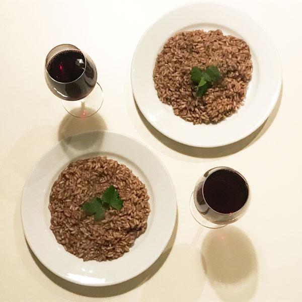 キノコと赤ワインのリゾット