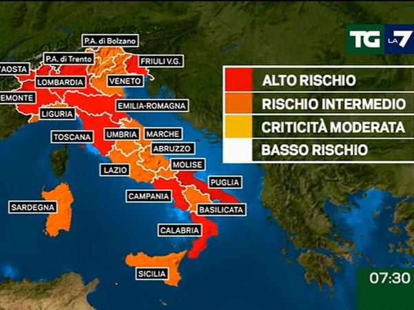 イタリアロックダウン地図