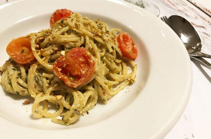 リコッタチーズとピスタチオのスパゲッティ