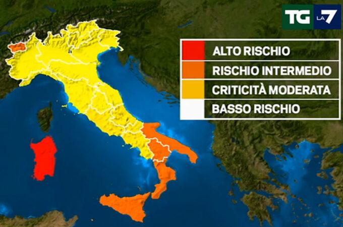 イタリアコロナ色分け地図