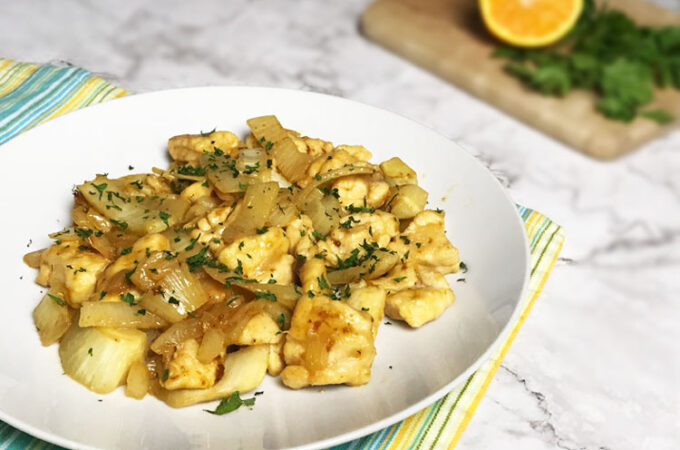 中華料理みたいなイタリア料理。フェンネルと鶏肉炒め